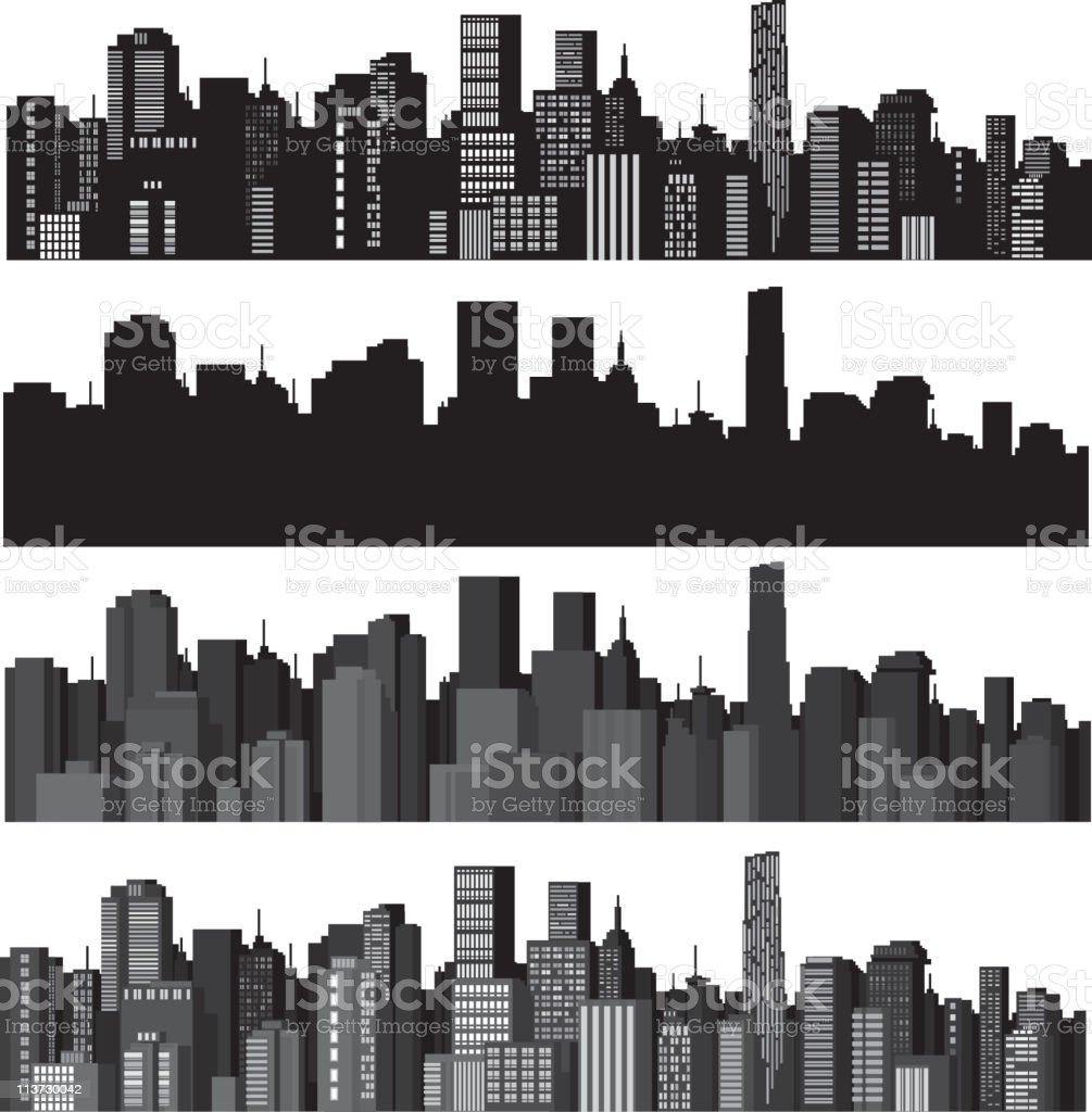 Zestaw miast sylwetka WEKTOR - Grafika wektorowa royalty-free (Architektura)