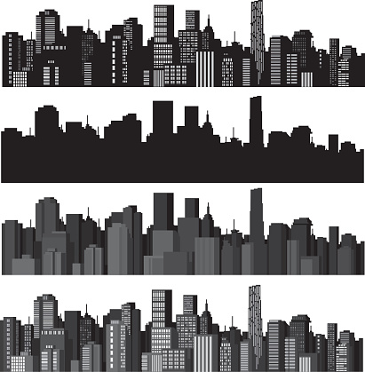 Set of vector illustrations of city silhouettes
