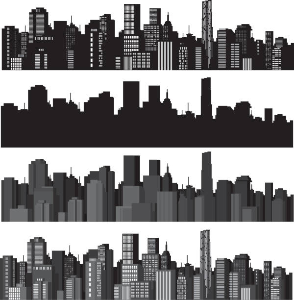 Set of vector illustrations of city silhouettes Elements are  my creative drawing and you can use it for town's, city's design,  made in vector, Adobe Illustrator 8 EPS file.  image technique stock illustrations