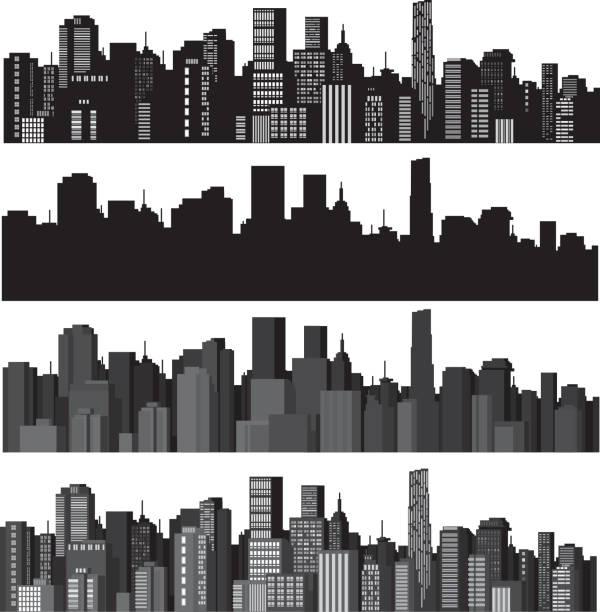 bildbanksillustrationer, clip art samt tecknat material och ikoner med set of vector illustrations of city silhouettes - bildteknik