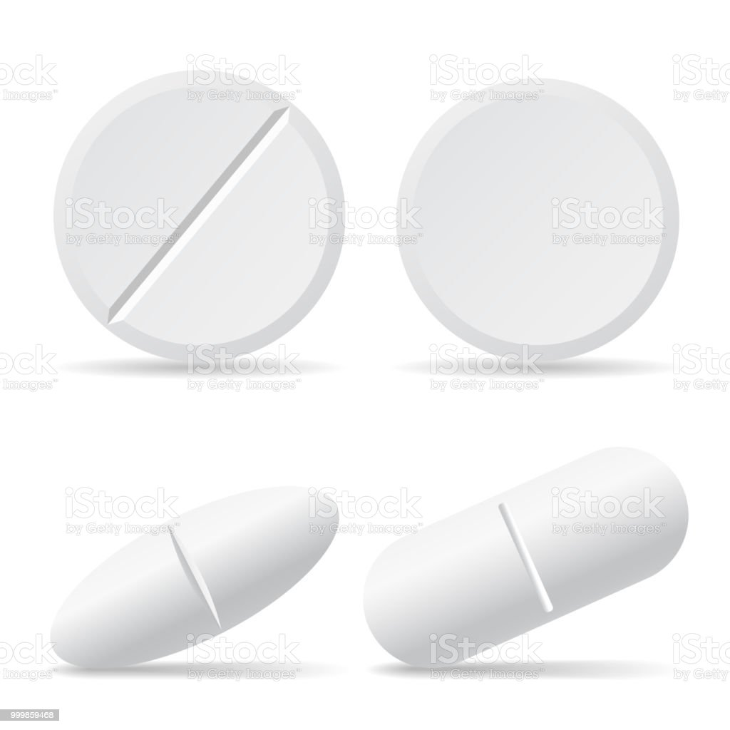 Set of vector illustrations of drug pills with shadows, round and oval - isolated on white background royalty-free set of vector illustrations of drug pills with shadows round and oval isolated on white background stock illustration - download image now