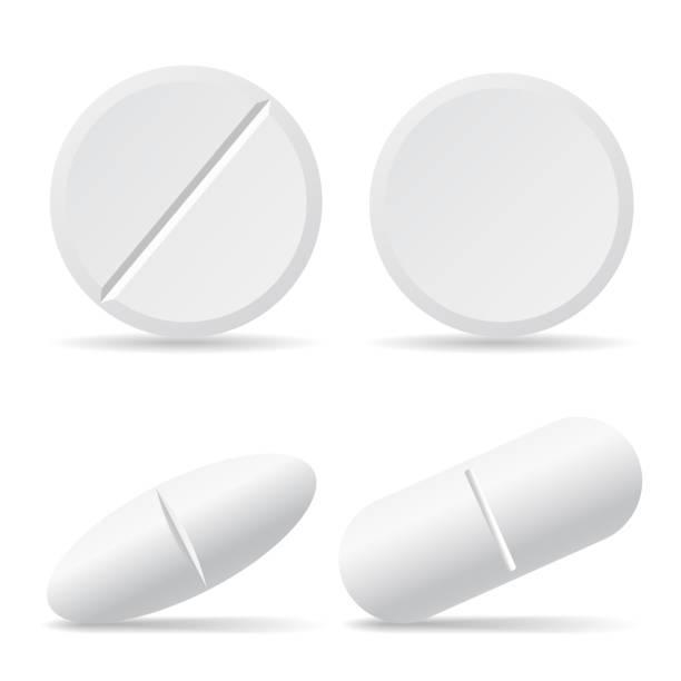 zestaw wektorowych ilustracji tabletek narkotykowych z cieniami, okrągłych i owalnych - izolowanych na białym tle - kapsułka stock illustrations