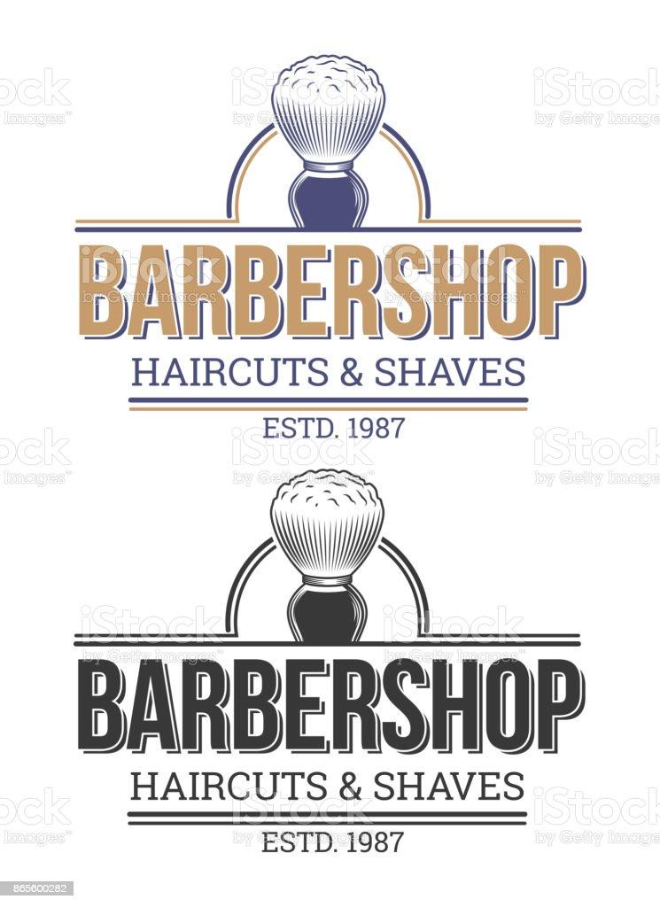 Set of vector illustrations of emblems, labels, barbershop salons. vector art illustration