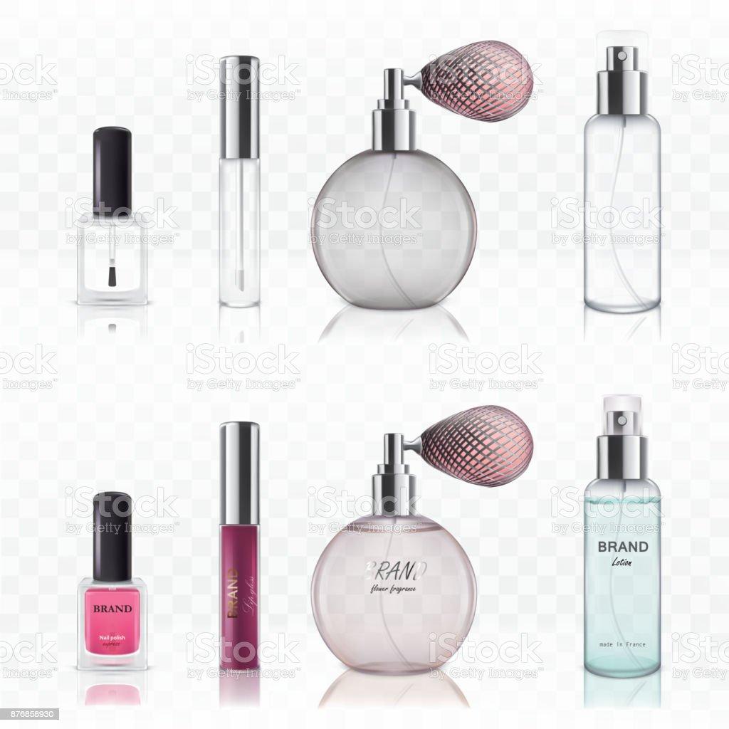 Set of vector illustrations of empty glass cosmetic bottles. vector art illustration