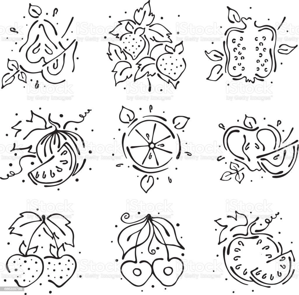 Vektör çizimler Meyve Kümesi Karpuz Elma Armut Nar Vişne çilek Berry