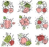 Set of vector illustrations of fruits. Watermelon, apple, pear, pomegranate, cherry, strawberry, berry and orange, watermelon. Hand drawn contour lines and strokes with splash, drops, spots.