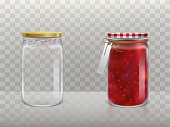 A set of vector illustrations of glass round jars with raspberry jam and empty closed lid and bandaged with twine and label.