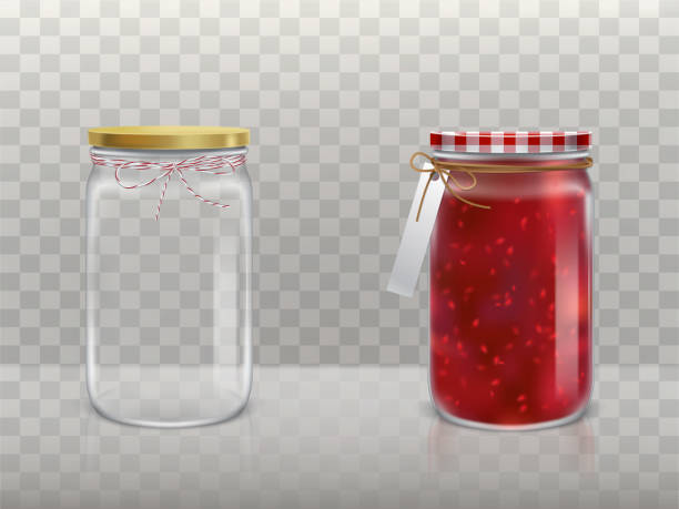 ilustrações de stock, clip art, desenhos animados e ícones de a set of vector illustrations of glass round jars with raspberry jam and empty closed lid and bandaged with twine and label. - jam jar