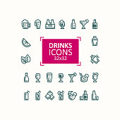 Set of vector illustrations of icons of drinks.