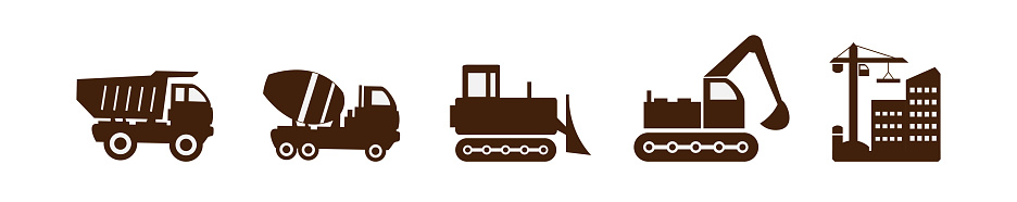 A set of vector illustrations of icons, special equipment for construction works, enterprises and other services and organizations