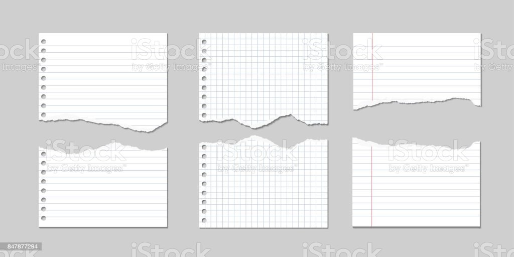 Set of Vector Illustrations of torn pages of notebook paper lined and square with shadows vector art illustration