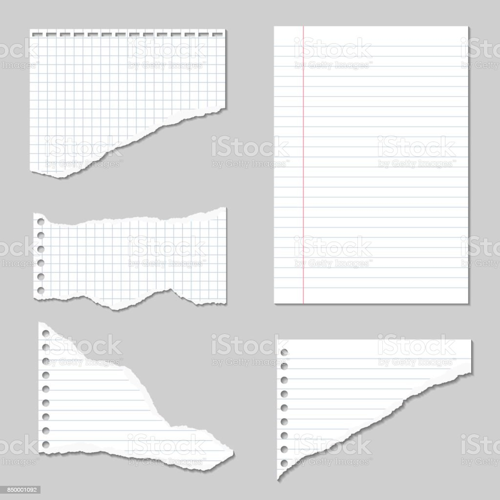 Set Of Vector Illustrations Of Torn Pages Of Notebook Paper Lined ...