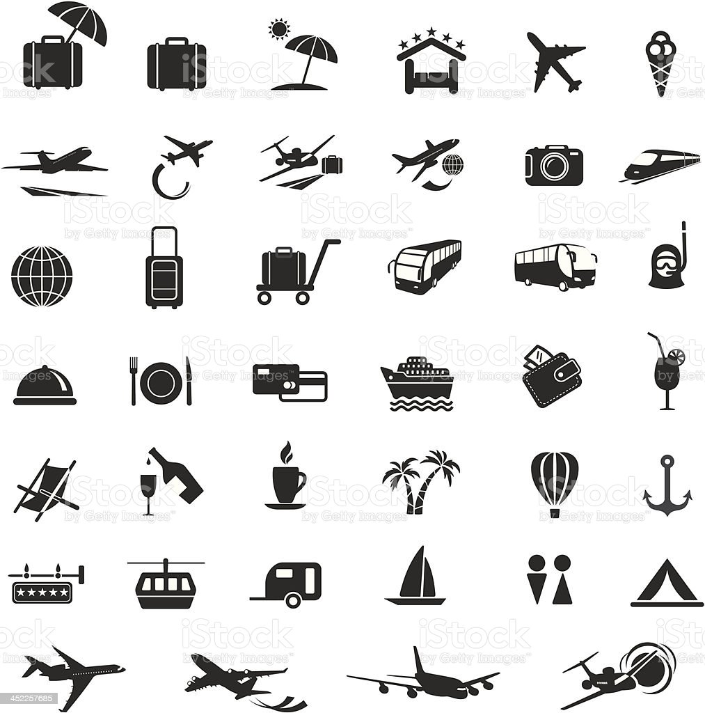 Set of vector illustrations of travel and tourism icons royalty-free set of vector illustrations of travel and tourism icons stock vector art & more images of airplane