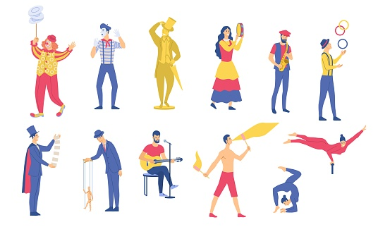Set of vector illustrations of various street performances