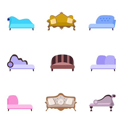 set of vector illustrations of vintage sofas in a flat cartoon style