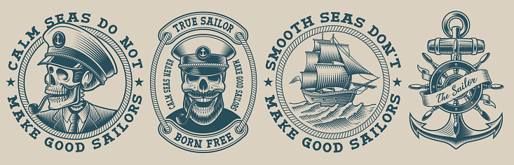 Set of vector illustrations on marine theme