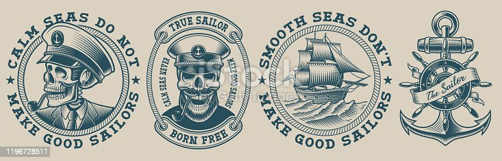 Set of vector illustrations on marine theme with captain skull on light background. Perfect for the shirt designs and many other uses. Text is on the separate group.