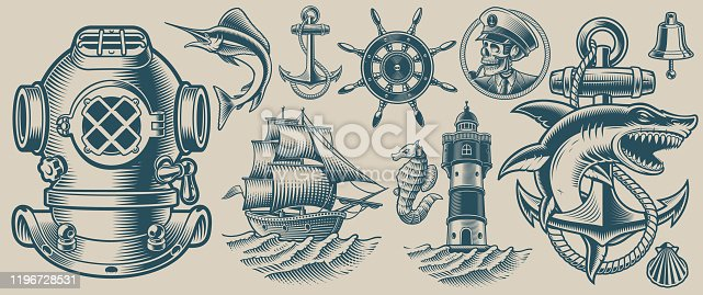 Set of vector illustrations on the nautical theme on a light background