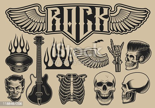 istock Set of vector illustrations on the theme of rock roll 1188467206
