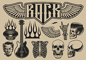 Set of vector illustrations on the theme of rock roll