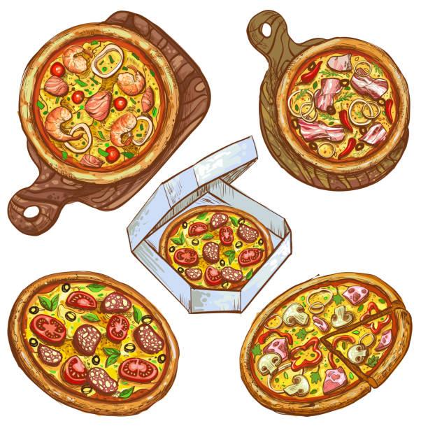 ilustrações de stock, clip art, desenhos animados e ícones de set of vector illustrations whole pizza and slice, pizza on a wooden board, pizza in a box for delivery. - inteiro