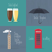 Set of vector illustrations with British, English symbols - Big Ben, red phone booth, beer. Design elements for visit United Kingdom concept