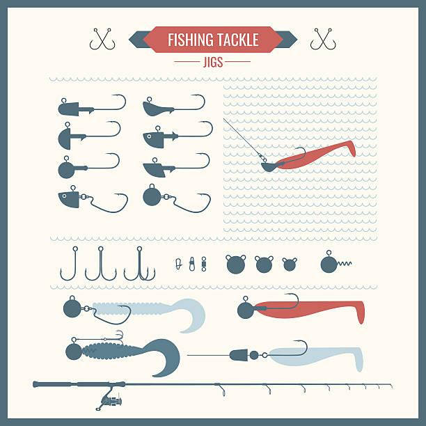ein set von vektorgrafiken mit fischen - angelurlaub stock-grafiken, -clipart, -cartoons und -symbole