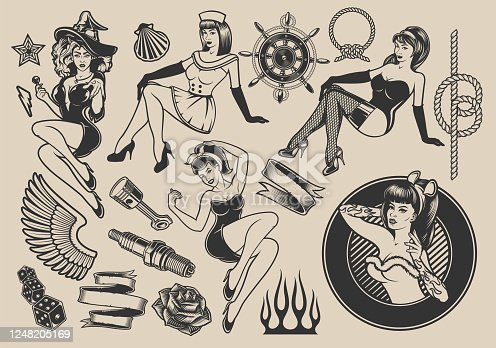 istock Set of vector illustrations with girls with elements for design 1248205169
