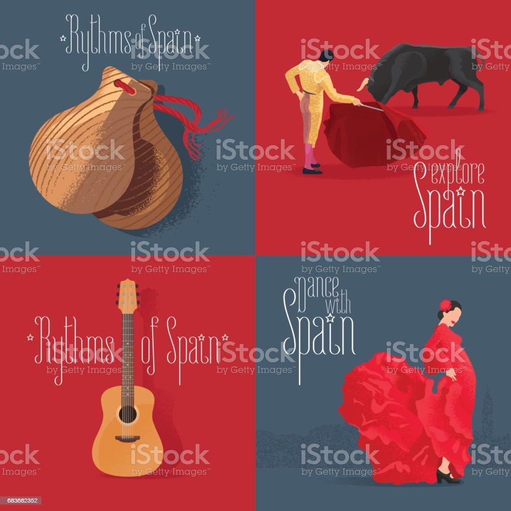 Conjunto de ilustraciones vectoriales con símbolos españoles - ilustración de arte vectorial