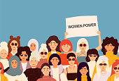 Set of vector illusttation. 8 march, International Women's Day. Feminism concept template design.