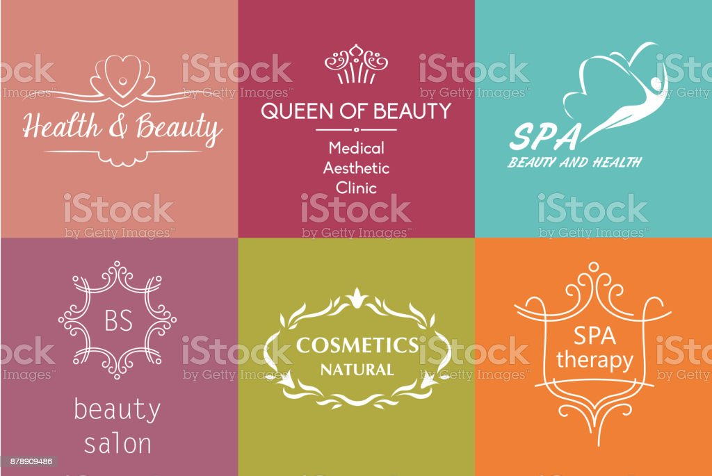 Set Of Vector Image And Symbol For Beauty Cosmetics Antiaging Body