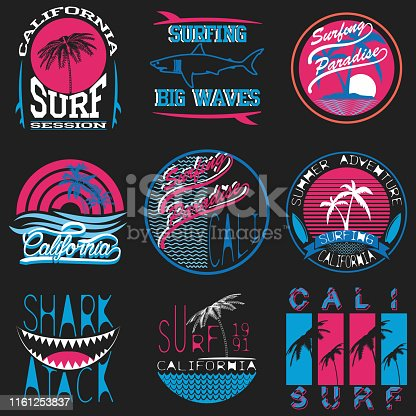 Set of vector images of t-shirts with summer and surf themes. Surfing. For use in typography, logos, badges and other uses.