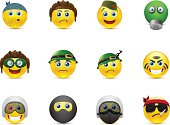 set of vector images smileys with military elements