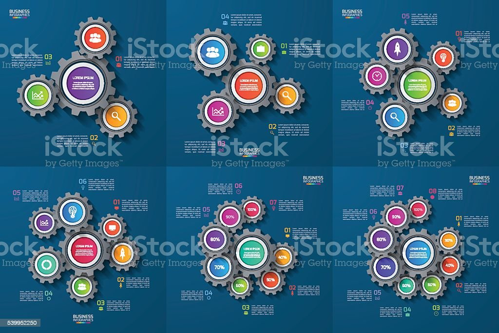 Set of vector infographic templates with gears, cogwheels vector art illustration