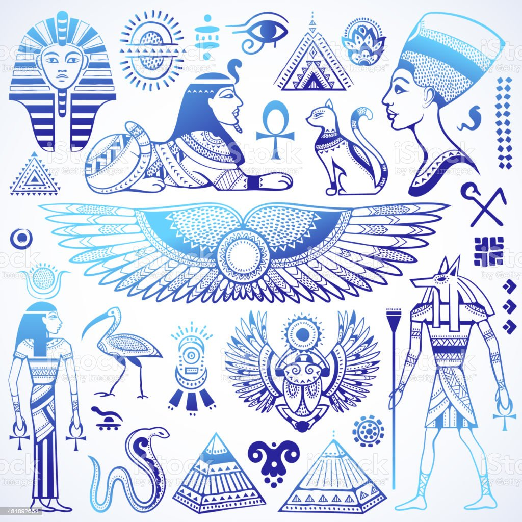 Set of Vector isolated Egypt symbols vector art illustration