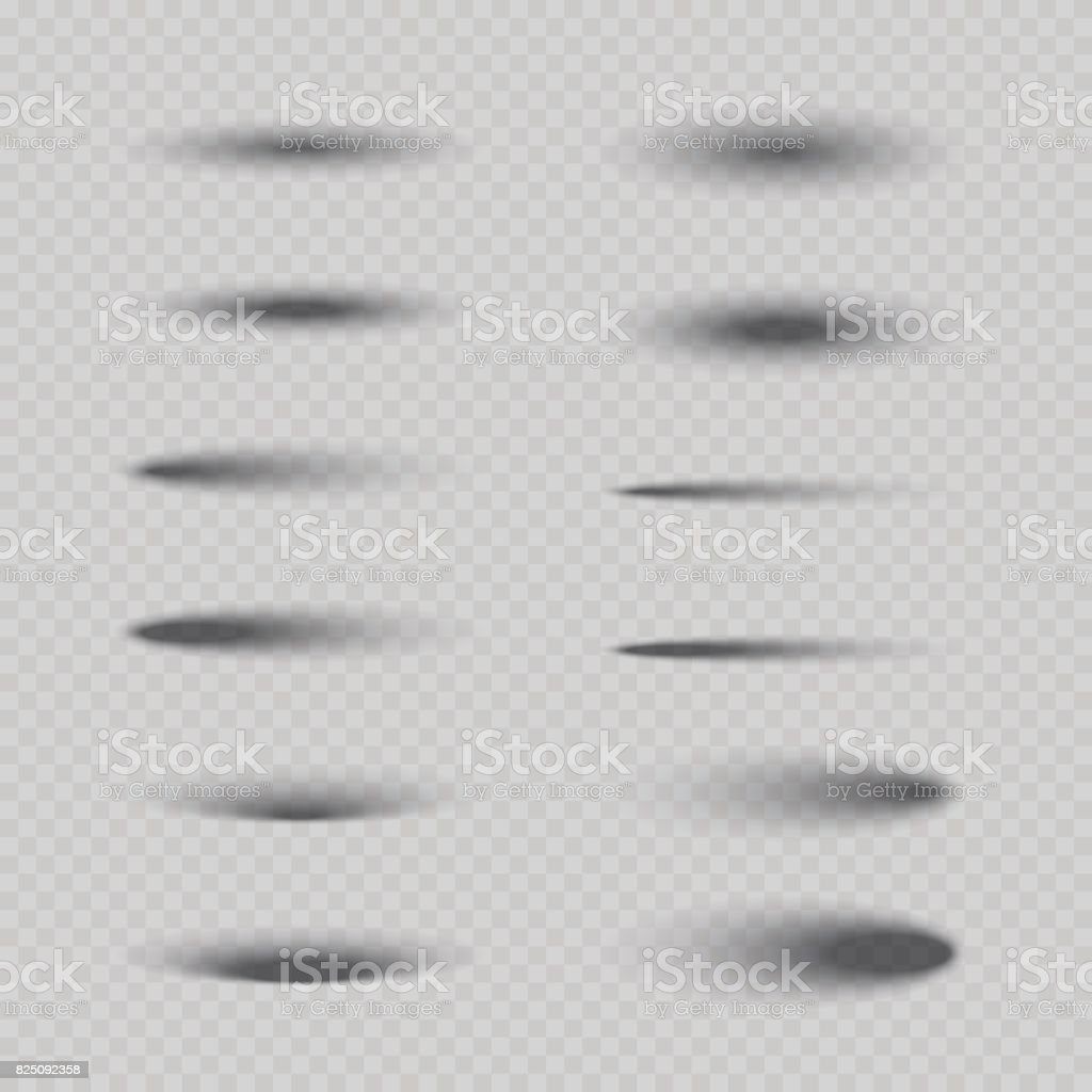Set of vector isolated oval shadows. vector art illustration