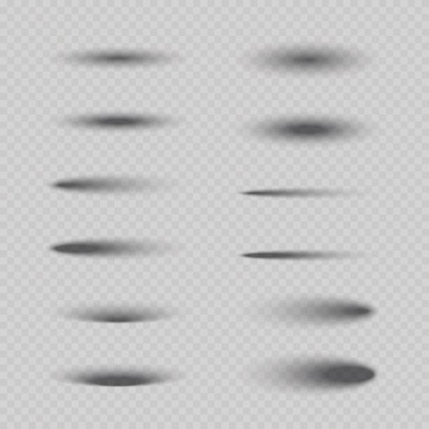 Set of vector isolated oval shadows. Set of vector isolated oval shadows. オフィス stock illustrations