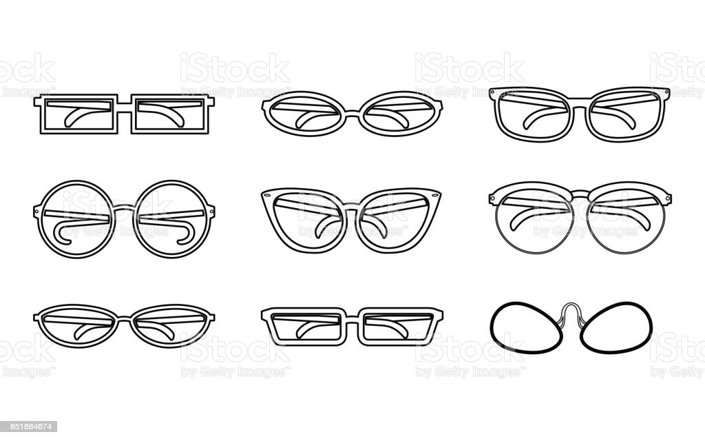 Set of Vector Isolated Spectacles. vector art illustration