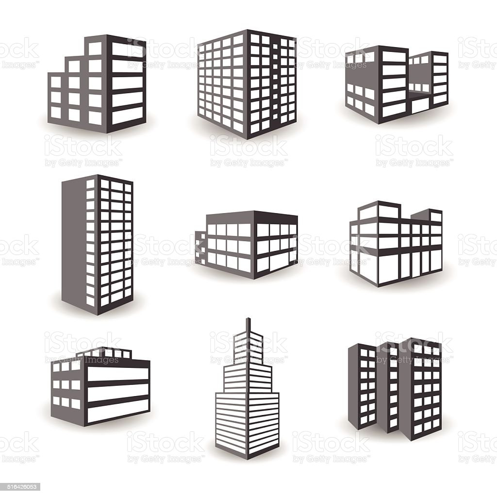 Set of vector isometric building icons isolated on white background vector art illustration
