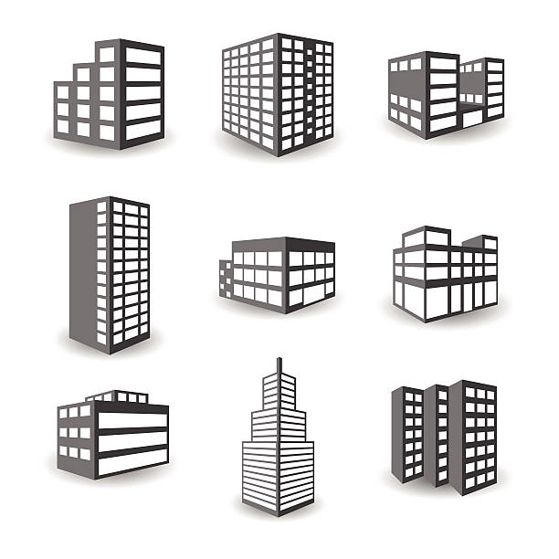 set of vector isometric building icons isolated on white background - architecture clipart stock illustrations