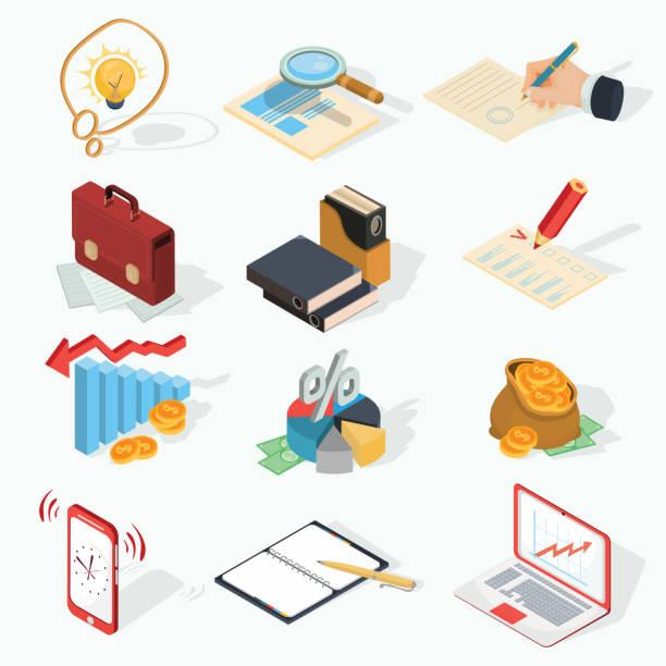 satz von vektor-isometrische business icons. - mappen stock-grafiken, -clipart, -cartoons und -symbole