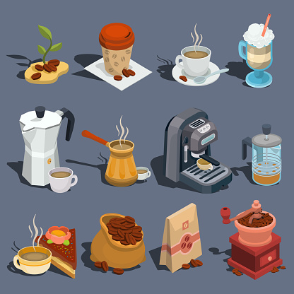 Set of vector isometric illustrations, coffee icons, stickers, prints, design elements