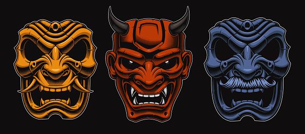 Set of vector Japanese masks of samurais