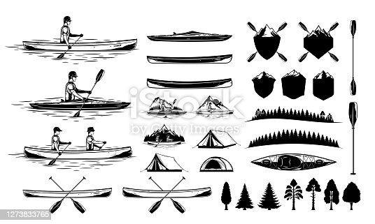istock Set of vector kayaking and canoeing illustrations and design elements 1273833765