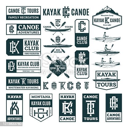 Set of vector kayaking and canoeing symbol, badges and design elements. Water sport, recreation, kayaking, canoeing, rafting design concept
