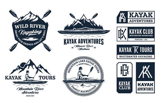 Set of vector kayaking symbol, badges and design elements