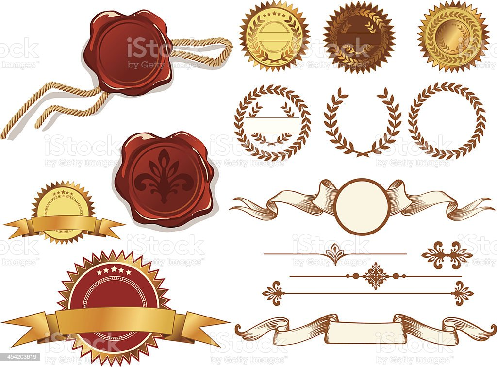 Set of vector labels and stamps royalty-free set of vector labels and stamps stock vector art & more images of achievement