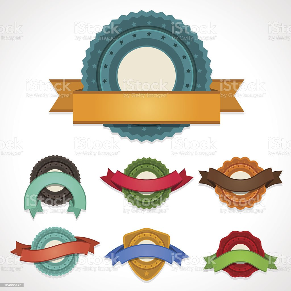 Set of vector labels, badges and ribbons. royalty-free set of vector labels badges and ribbons stock vector art & more images of badge