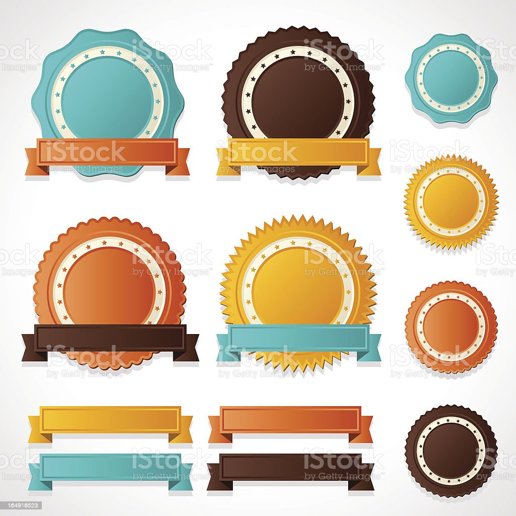 Set of vector labels, badges and ribbons. royalty-free stock vector art