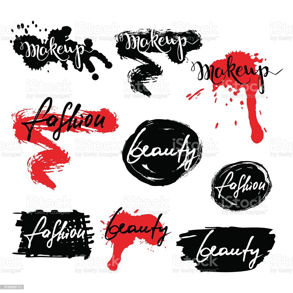 Set of vector labels, badges, banners with makeup lettering. royalty-free set